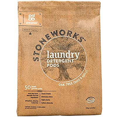Grab Green Stoneworks Laundry Detergent Pods, Powered by Naturally-Derived Plant & Mineral-Based Powder Pods, Oak Tree, 50 Count (Pack of 1) Loads-EPA Safer Choice Certified