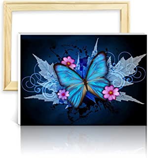 ufengke Wooden Frame Maple Butterfly 5D Diamond Painting Kits by Numbers Full Drill Diamond Embroidery Cross Stitch Mosaic Making, 25 35cm Design