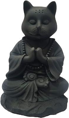 Buddha Cat Statue in Meditating Pose for Zen Kitty Memorial Or Spiritual Decor. Dhyana Mudra Pose Yoga.