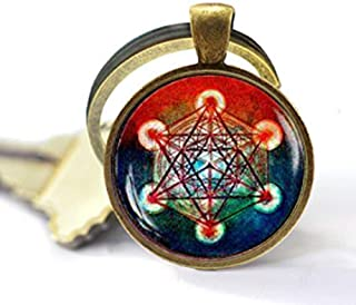 Portachiavi a forma di cubo di Metatron, portachiavi con geometria sacra, portachiavi geometrico, portachiavi da uomo