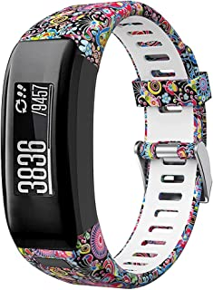 Junboer Compatible Garmin Vivosmart HR Watch Band,  Accessories Silicone Replacement Wrist Watch Strap for Garmin Vivosmart HR SmartWatch(NOT for Vivosmart HR+),  Only for 4PK (White+Pattern)