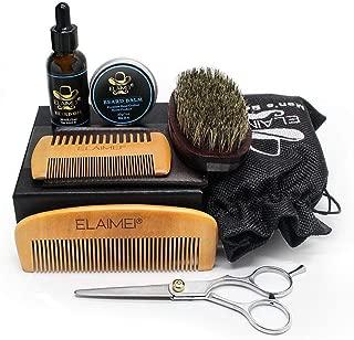 Beard Care Kit for Men, 8 in 1 Beard Growth Grooming & Trimming Set Wood Beard Comb Brush Mustache Sharp Scissors Beard Balm Butter & Beard Oil Best Perfect Gift for Dad