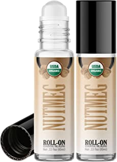 Organic Nutmeg Roll On Essential Oil Rollerball (2 Pack - USDA Certified Organic) Pre-diluted with Glass Roller Ball for A...
