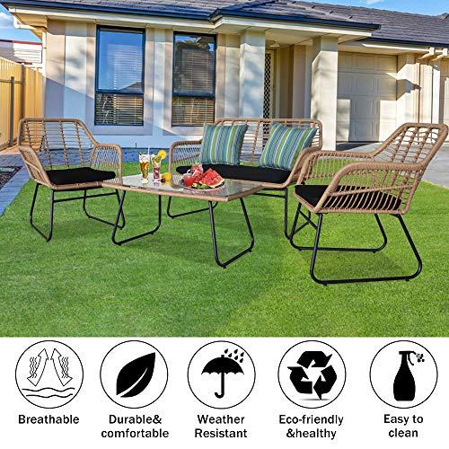 Moskado Oshion 4pcs Outdoor Wicker Rattan Chair Patio Furniture Set with Table Cushions Tan