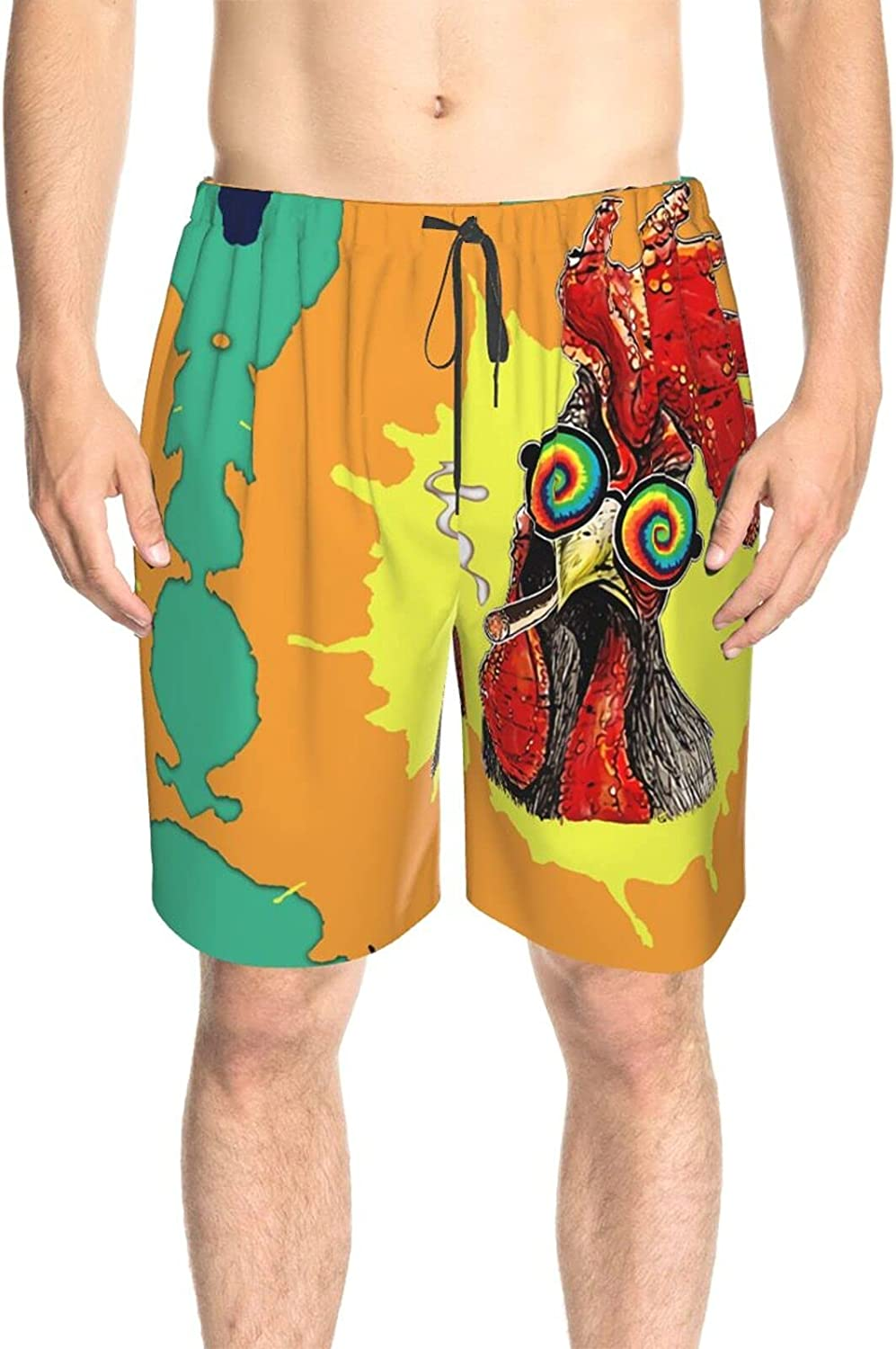 JINJUELS Mens Swim Trunks Smoking Rooster Beach Board Shorts Quick Dry Cool Board Shorts Swimwear with Mesh Lining