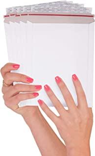 ABC 25 Pack Rigid Paperboard Mailers  6 x 8 . Stay Flat Chipboard Envelopes 6x8. White Photography Mailer. No bend documents, photo, prints. Peel and Seal, Red-Strip. Wholesale price.