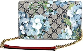 Women's Blue Bloom GG Supreme Canvas Chain Crossbody Wallet 546368