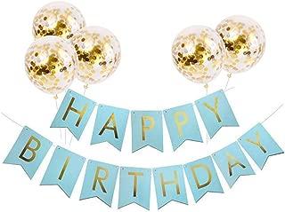 Tellpet Light Blue HAPPY BIRTHDAY Banner with 5 pcs Gold Confetti Balloons