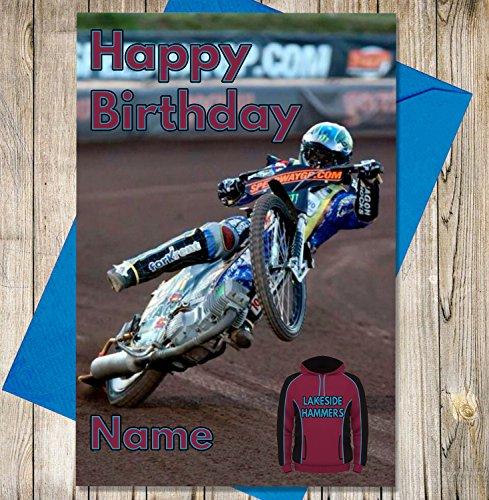 Lakeside Hammers - Gepersonaliseerde Speedway Verjaardagskaart - Naam en leeftijd gedrukt op de voorzijde