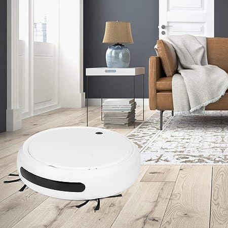 Oyunngs Aspirador Robot, Aspirador Robot Inteligente de Barrido con luz Ultravioleta Inteligente Multifuncional, para Pelo de Mascotas, Pisos Duros(Blanco)