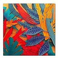 絵画 キャンバスウォールアートカラフルな葉ベッドサイドの絵画壁の写真部屋の抽象的なポスター家の装飾31.5x31.5in(80x80cm)x1pcsフレームなし