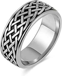 HZMAN Stainless Steel Mesh Ring Celtic Knot Ring for Men Women Punk Vintage Ring Size(7-13)