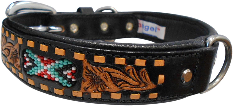 Angel Pet Supplies 10087 11087 Leather EL PASO Dog Collar, 20  X 1 , Midnight Black