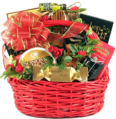 Date Night, Romantic Gift Basket with Italian Themed Dinner for Two: Including Handmade Pasta, Deluxe Sauce Mix, Breadsticks and Desserts