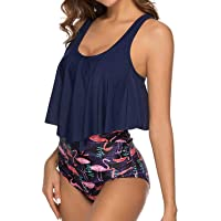 Adisputent Women's High Waisted 2-Piece Vintage Swimsuit (Navy Flamingo)
