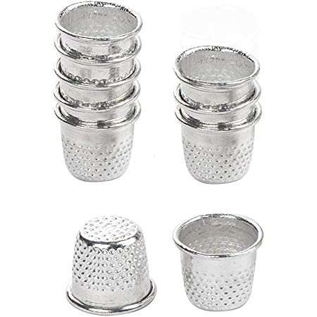 ULTNICE Vintage Sewing Thimble Metal Sewing Tailor Finger Protector Thimbles for DIY Crafts 10PCS Silver