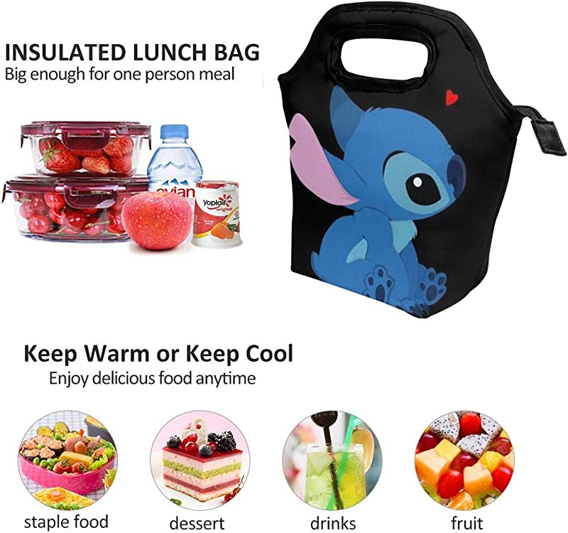 Lunch Bag Love Stitch Insulated Lunch Tote Boxes Cooler Bag For Adults Men Women Kids Boys Nurses Teens