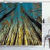 ABAKUHAUS Wald Duschvorhang, Bäume Sonnenaufgang Pastoral, Personenspezifisch Druck inkl.12 Haken Farbfest Dekorative mit Klaren Farben, 175 x 200 cm, Gelb-Blau