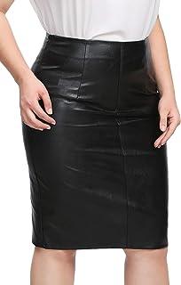 4a2e3bc91 SHEIN Women's Plus Size Zipper Detail PU Faux Leather Short Skinny Skirt