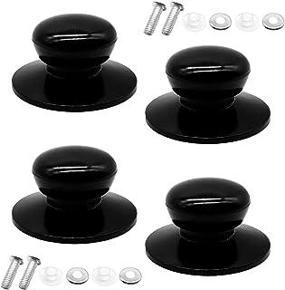 CKANDAY - Juego de 4 tapas para ollas con botones de repuesto, tapas de vajilla de cocina universales, botones de repuesto, tapa para caldera, tapa para olla, tapa para la olla, mango, color negro