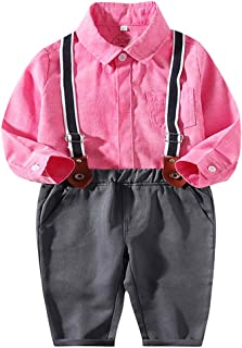Fairy-Baby Toddler Boys 2 Piece Suspender Pant Set Stylish Gentleman's Outfit Autumn Playwear