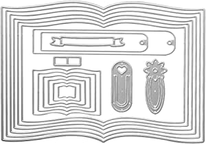 Metal 1 Set Book Cutting Dies,One Book Bookmark Label Die Cuts Embossing Stencils Template Mould for Card Scrapbooking and DIY Craft Album Paper Card Decor