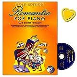 Romantic Pop Piano Gold Edition–33Canciones en los costumbre Arrangements ligero para Piano–Ordenador libro con CD y Bunter herzförmiger Ordenador Pinza