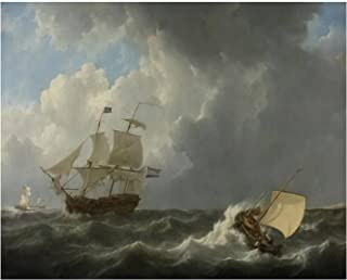 Paint By Numbers Ships in a Turbulent Sea by Johannes Christiaan Schotel 1826 Dutch Digital Coloring Oil Painting Canvas W...