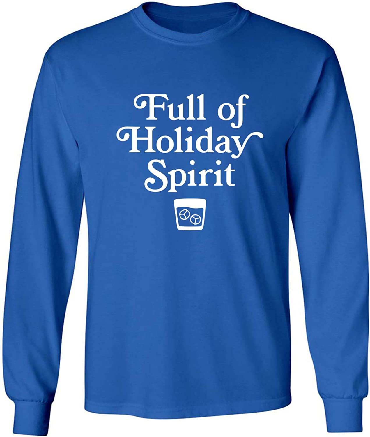 Full of Holiday Spirit Adult Long Sleeve T-Shirt in Royal - XXXXX-Large
