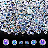 600 Pieces Crystal Rondelle Beads Gemstone Loose Beads, Crystal Glass Beads, Briolette Bead, Faceted Rondelle Beads for DIY Jewelry Crafts Making 8 mm, 6 mm, 4 mm (AB Color)