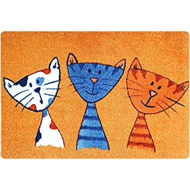 deco-mat Designer Fussmatte für Haustür, Flur, Innen und Aussen | Fussmatten rutschfest und waschbar | Praktische Schmutzfangmatte – Fußabtreter | Fussabstreifer Katze