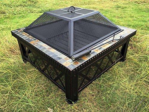 Outour - Brasero pesado de 76,2cm cuadrados para exteriores, con un...