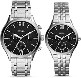 His and Her Fenmore Midsize Multifunction Stainless Steel Watch Gift Set BQ2469SET