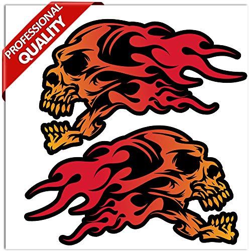 Skull flame Emblema 3D cromato Teschio di fiamma 2 pezzi 3M autoadesivo Badge sticker per decorazione auto logo 3D15031