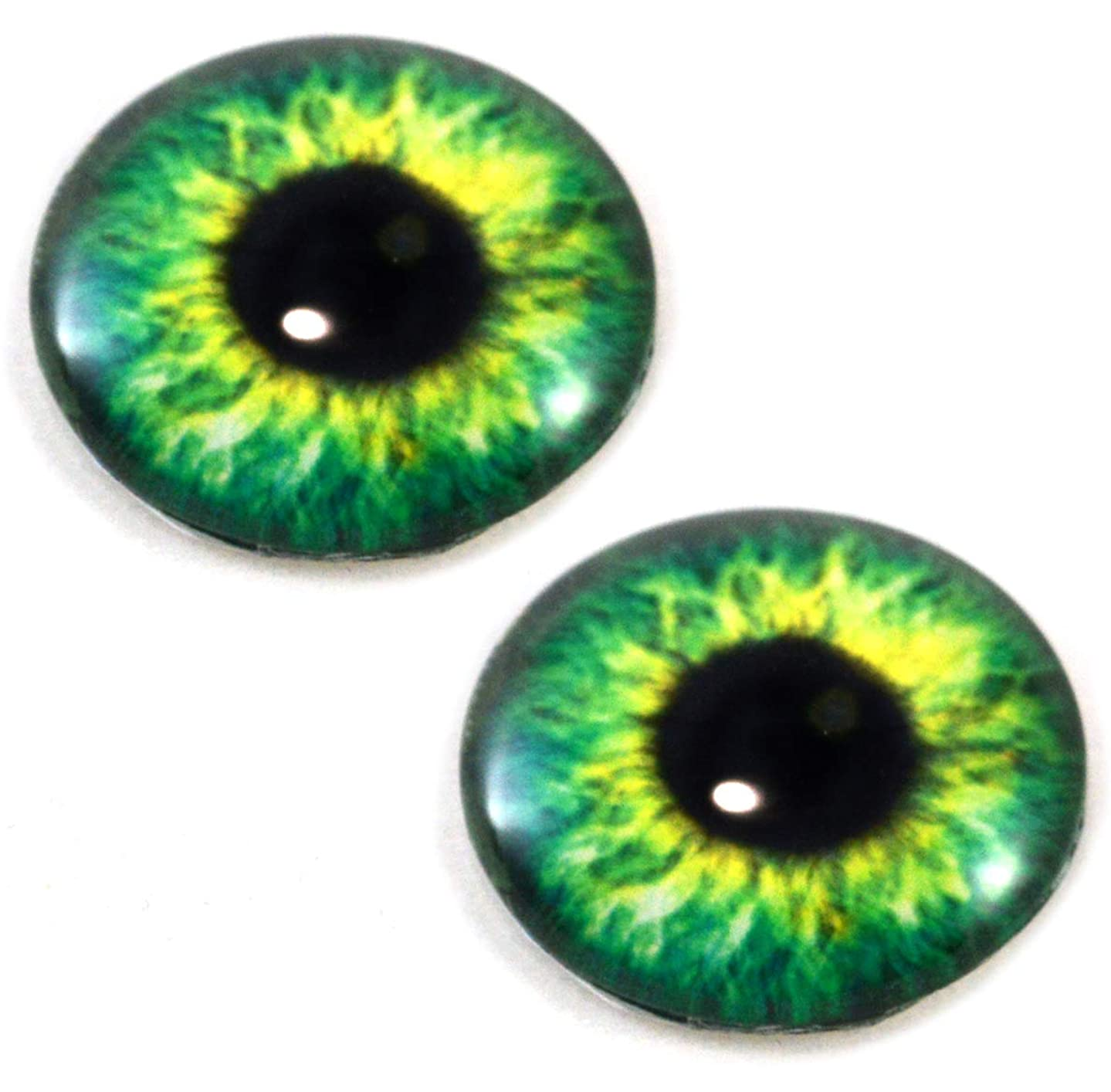 30mm Bright Green Fantasy Human Glass Eyes Unique Pair for Art Dolls, Sculptures, Props, Masks, Fursuits, Jewelry Making, Taxidermy, and More