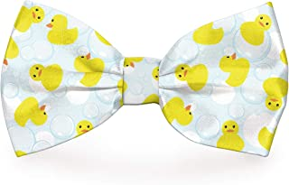 "Cutie Ties Dog Bow Tie Rubber Duckies Deluxe Quality 4"" with Easy Slip Over Collar Elastic Bands to fit Most Collars Perfe..."