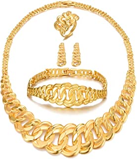 24K Gold Plated Cuba Link Jewelry Sets for women Chain Necklace Earrings Ring African Wife Gifts Wedding Party Ornaments