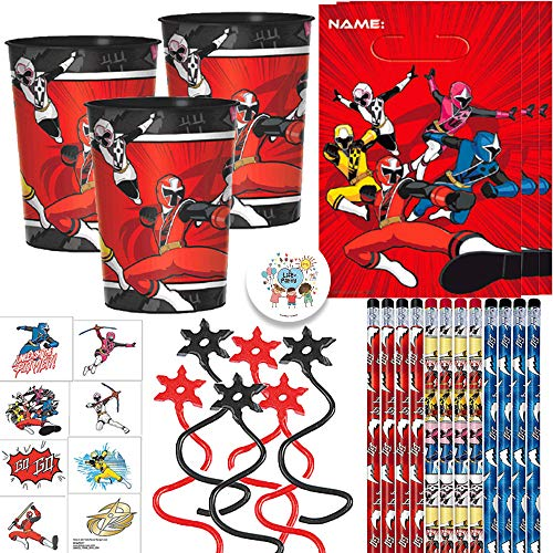 Power Rangers Ninja Steel Birthday Party Favors and Goodie Bag Fillers Pack For 12 With Power Rangers Pencils, Favor Cups, Tattoos, Goody Bags, Ninja Toy, and Pin