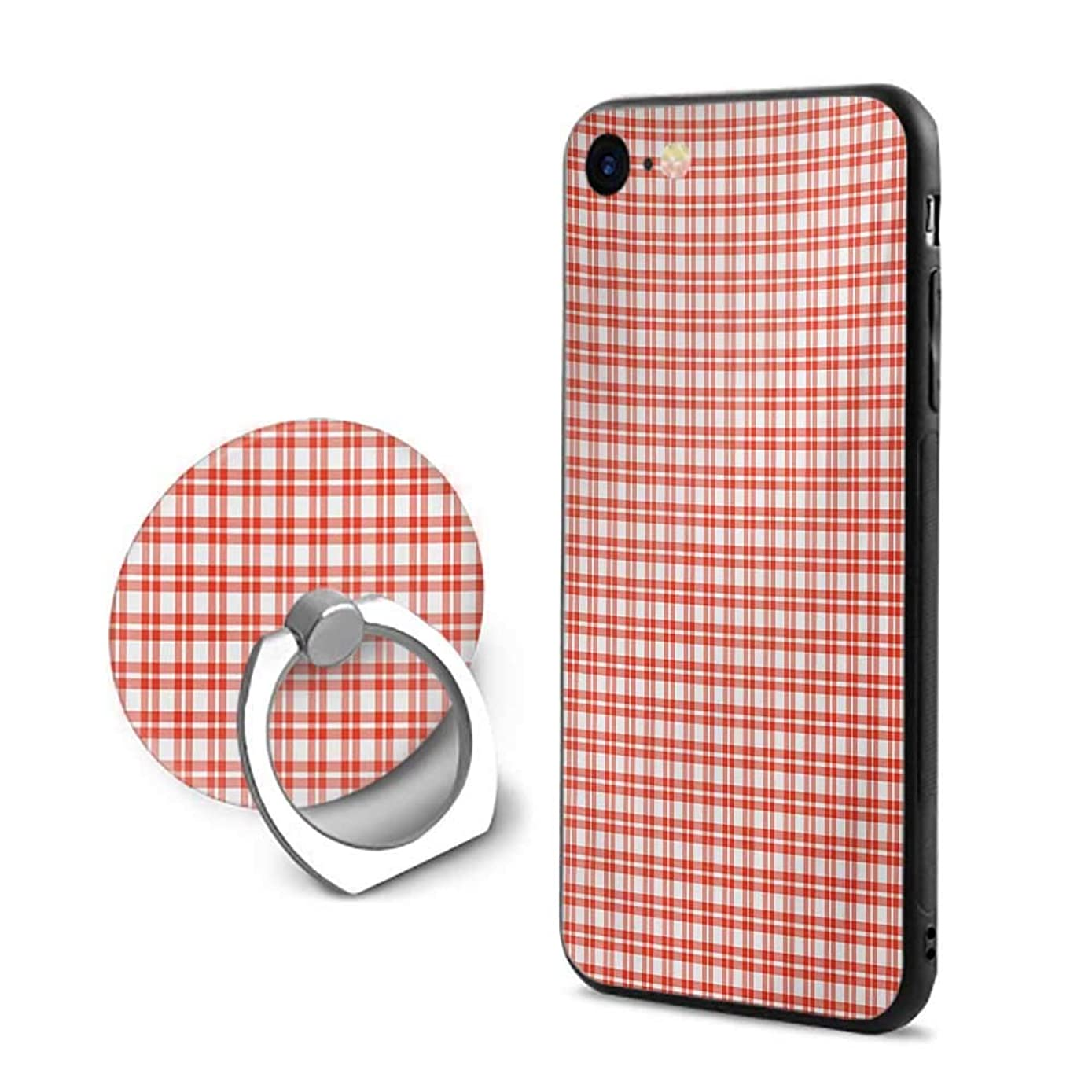 Plaid Tablecloth iPhone 7/iPhone 8 Cases,Colored and Checkered Country Picnic Pattern Repeating Squares Stripes Modern Orange and White,Mobile Phone Shell Ring Bracket