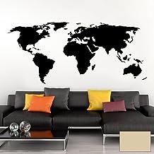 Grandora Muursticker wereldkaart aarde wereldkaart kaart I beige 120 x 53 cm I wereld Atlas slaapkamer woonkamer muurstick...