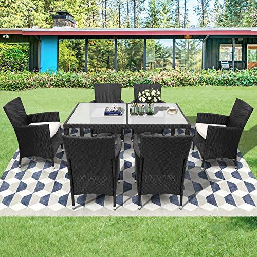 GYF Set Mobili da Giardino Set Mobili da Esterno Seduta A Sedere in Rattan di Alta qualità Set da Giardino per Giardino Cattan Sedia Mobili da Giardino All'aperto con Tavolo 6 Sedie