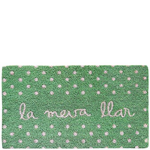 Laroom Felpudo diseño La Meva Llar, Jute & Base Antideslizante, Verde, 40x70x1.8 cm