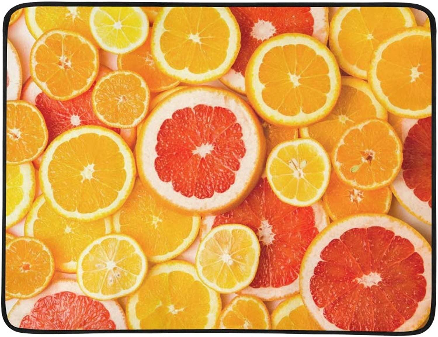 colorful Citrus Fruit Lemon orange Grapefruit Pattern Portable and Foldable Blanket Mat 60x78 Inch Handy Mat for Camping Picnic Beach Indoor Outdoor Travel