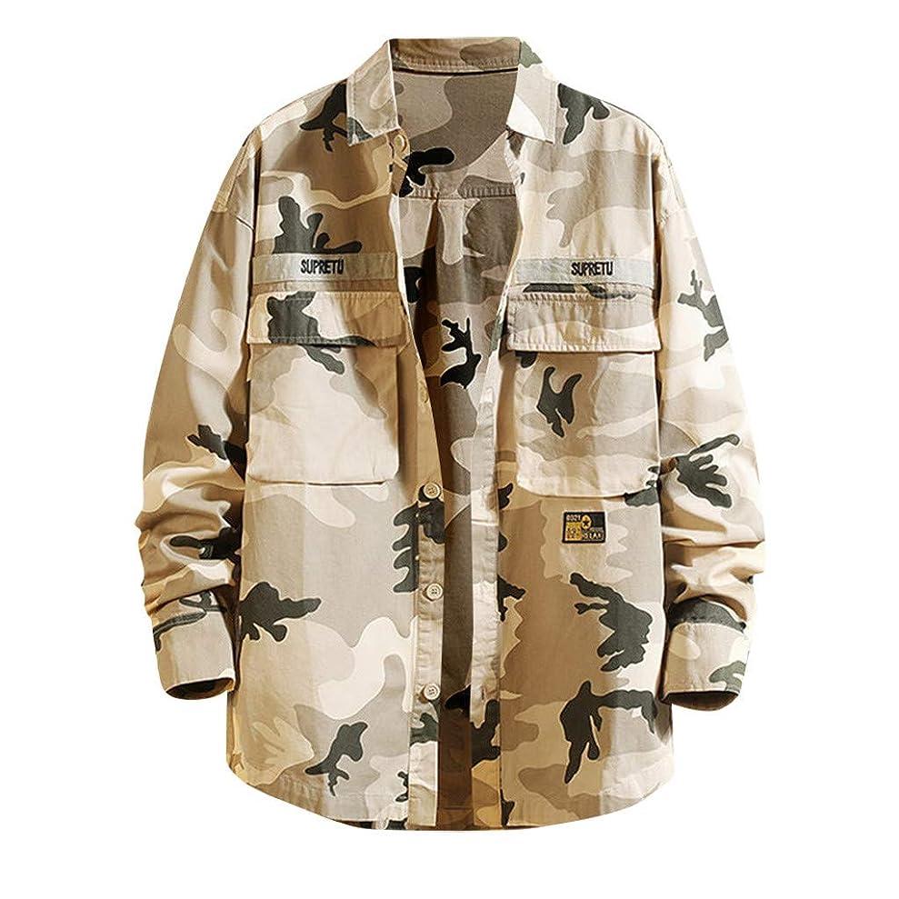 の中でセレナ予言するメンズ シャツ 秋と冬の服 長袖 吸汗速乾 汗染み防止 快適な 軽い 柔らかっこいい ワイシャツ - ファッションルーズチェック柄迷彩プリントブラウス