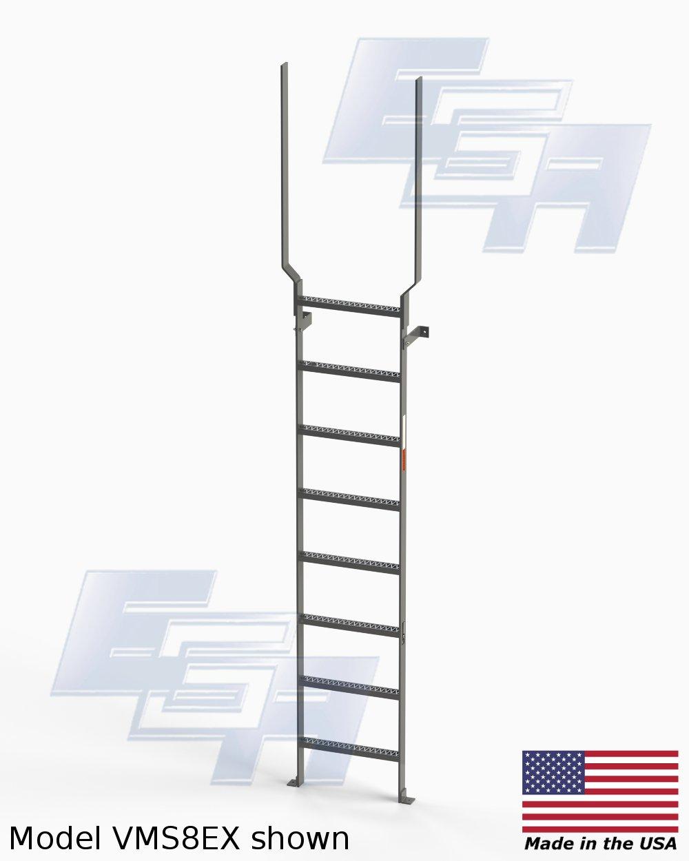 135 cm (8 peldaños) vertical de acero escaleras con barra de extensión por Ega productos: Amazon.es: Amazon.es