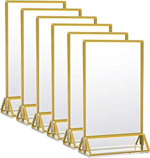 HIIMIEI Acrylic Gold Sign Holder, 5x7 Gold Acrylic Picture Frames Clear Double Sided Menu Holder for Wedding Table Number 6 Pack