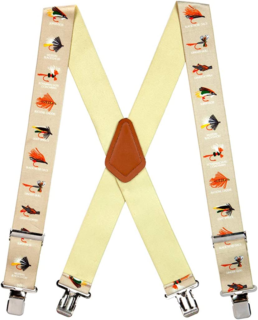 SuspenderStore Men's Fly Fish Clip-End Novelty Suspenders - 2 Inch Wide (3 Sizes)