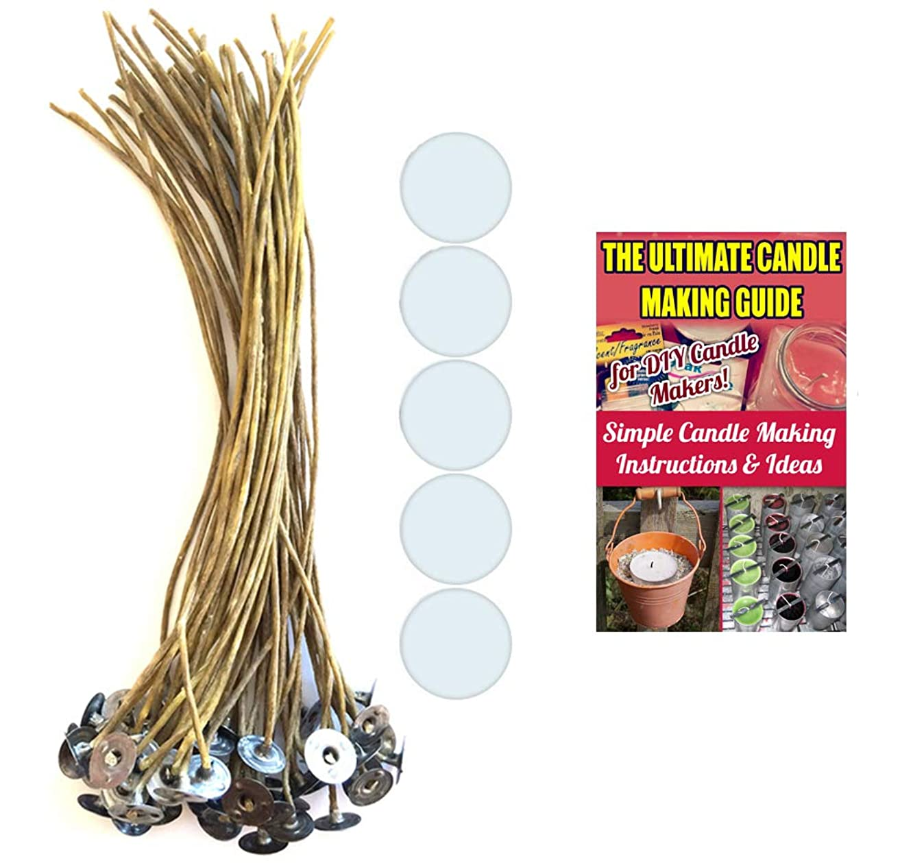 CozYours 8 inch Beeswax Hemp Candle Wicks with Candle Wick Stickers, 50/50 pcs; Low Smoke&Natural; Candle DIY Hacks E-Book Included. Candle Wicks for Candle Making