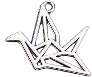 Monrocco 100 pcs Alloy Silver Origami Crane Charms Cranes Charms Pendant Jewelry Findings for Jewelry Making Necklace