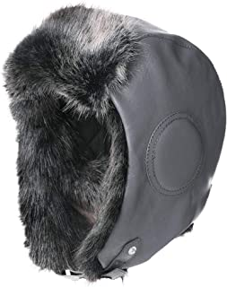 Aviator Hat Faux Leather Pilot Cap Adult Men Winter Trapper Hunting Hat